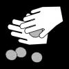 Mustavalkoisessa piirroskuvassa kaksi kättä, jotka pyörittävät lihapullia.