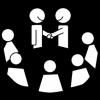 Mustavalkoisessa piirroskuvassa kaksi kättelevää hahmoa sekä viisi muuta hahmoa heidän ympärillään.