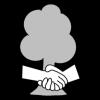 Piirroskuvassa kättelevät kädet ja taustalla puu.