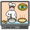 Piirroskuvassa televisio, jossa kokki tekee ruokaa.