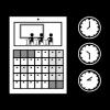 Mustavalkoinen kuva kalenterista, kelloista ja oppilaista luokassa.