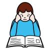 Piirroskuvassa henkilö lukee kirjaa ja nojaa samalla käsillä poskiinsa.