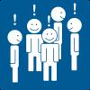 Piirroskuvassa ryhmä hymyileviä ihmishahmoja, joiden pään yläpuolella on huutomerkkejä.