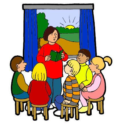 Piirroskuvassa on kirjaa lukeva opettaja ja oppilaita istumassa piirissä tuoleilla opettajan ympärillä. Taustalla on ikkuna, jossa on nousemassa aamuaurinko.