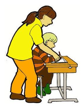 Piirroskuvassa koulunkäynninohjaaja auttaa pulpetissa istuvaa oppilasta.