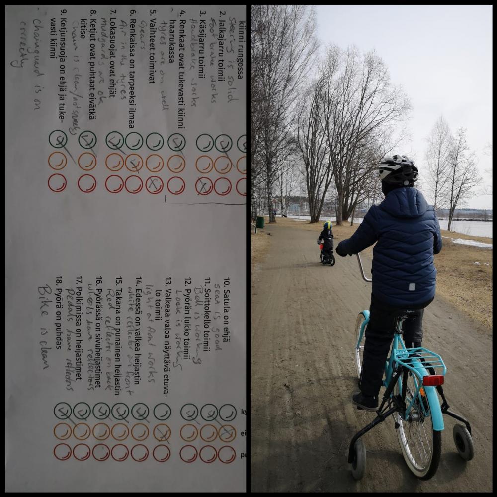 Elias pyörälenkillä. Ensin pyörä tarkistettiin opettajan ohjeen mukaan.