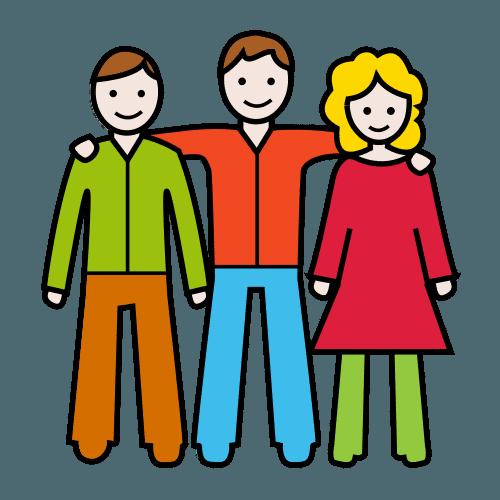 Piirroskuvasssa on kaksi poikaa ja tyttö. jotka pitävät käsiään toistensa olkapäillä.