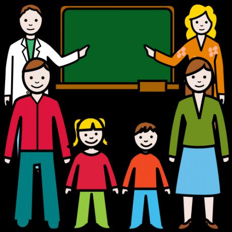 Piirroskuvassa on kaksi oppilasta, ja heidän ympärillään eri ammattirymien aikuisia auttamassa.