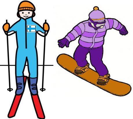 Piirroskuvassa on hiihtävät ja lumilautailevat ihmiset.