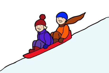 Piirroskuvassa kaksi lasta laskee pulkalla mäkeä.