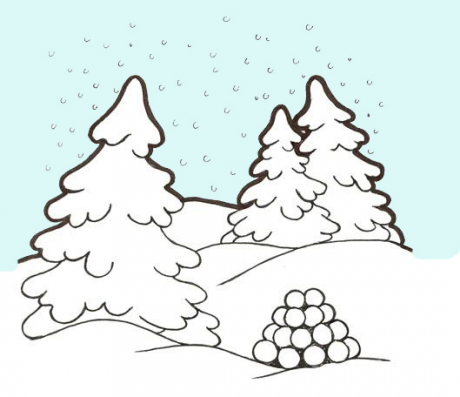 Piirroskuvassa on talvinen maisema, jossa on lumisadetta, lumen peittämiä puita ja lumilyhty.