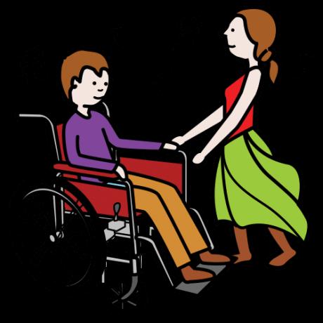 Piirroskuvassa pyörätuolia käyttävä poika tanssii tytön kanssa. Pojan ja tytön ympärillä on nuotteja.