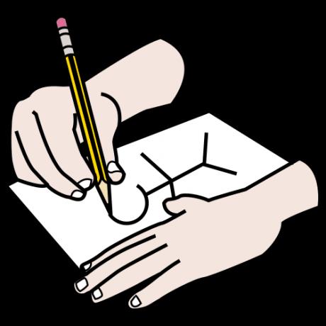 Piirroskuvassa käsi piirtää lyijykynällä paperille ihmishahmoa.
