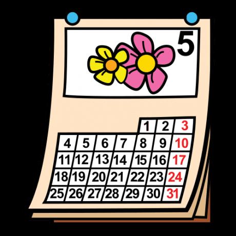 Piirroskuvassa on seinäkalenteri, jossa on toukokuun sivu.
