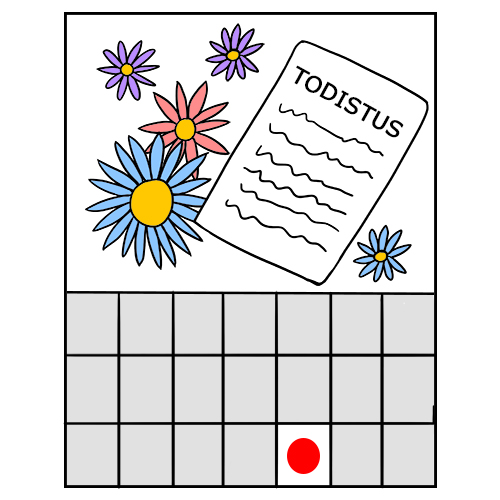 Piirroskusvassa on kalenterin lehti toukokuussa, kukkia ja todistus.