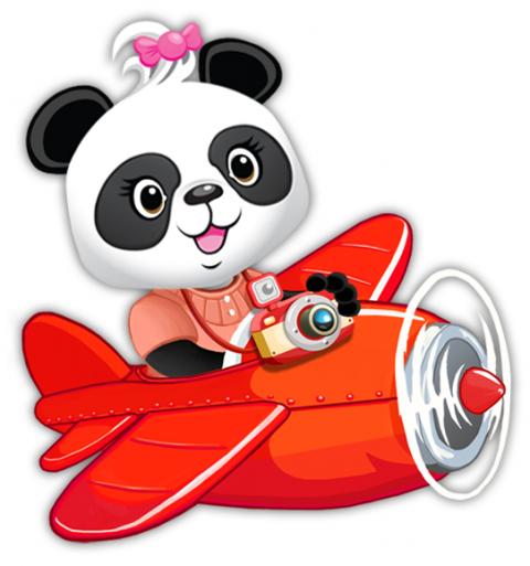 Piirroskuvassa on Lola Panda -opetuspelien Lola helikopterin kyydissä..