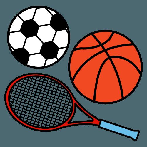 Piirroskusvassa on jalkapallo, tennismaila ja koripallo.