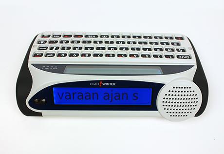 Vy av en LightWriter-kommunikationsapparat med tangenter.