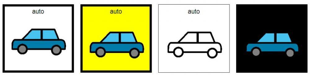 Fyra bilder på bilar med olika bakgrundsfärger.