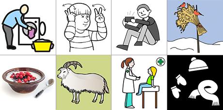 olika symboler som finns på Papunets bildbank