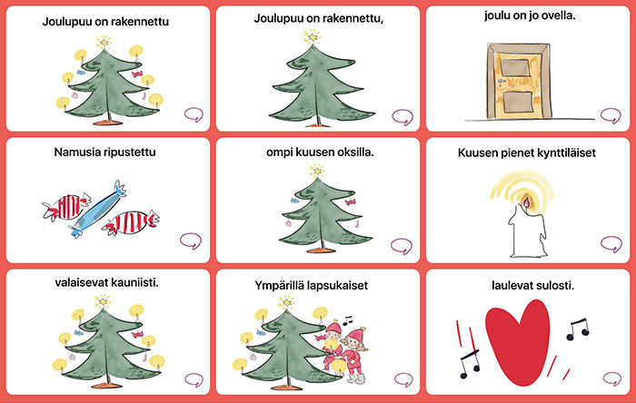 Joulupuu on rakennettu -laulu kuvitettuna