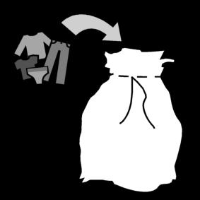 Laittaa pyykit pyykkipussiin