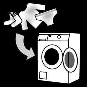 Laittaa likaiset pyykit koneeseen