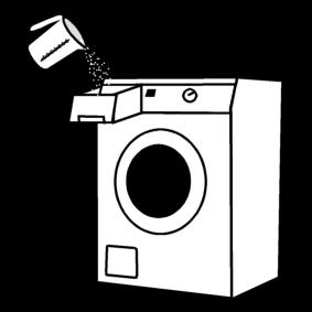 Laittaa pesuainetta pyykinpesukoneeseen