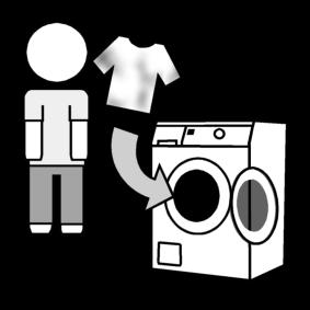 Laittaa likaiset vaatteet pesukoneeseen