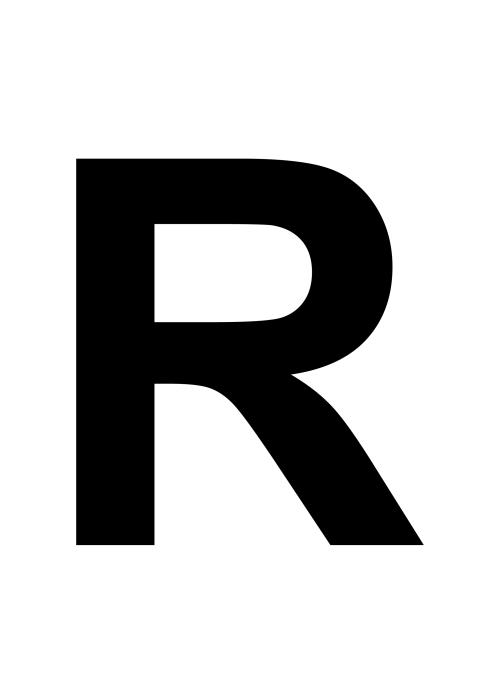 J Logo R-kirjain, iso är...