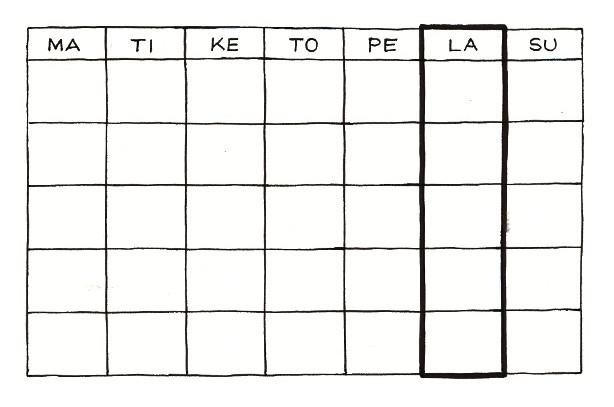 Tulostettava Viikkokalenteri