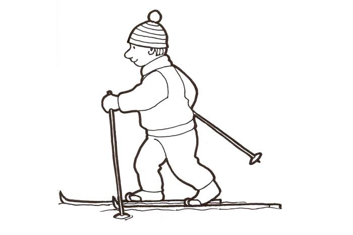 Kuvahaun tulos haulle hiihtäminen piirretty