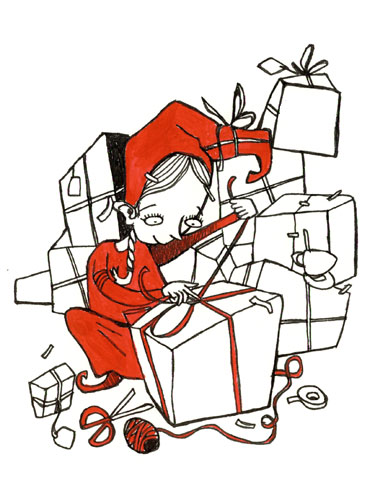 Tonttu ja lahjapaketteja