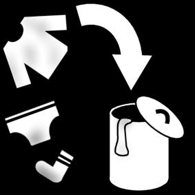Laittaa likapyykki pyykkikoriin