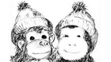 Apinat pipot päässä.