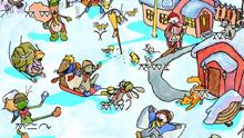 Eläinhahmoja talvisessa maisemassa
