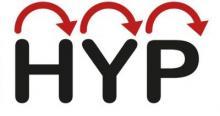 Teksti HYP, jonka yläpuolella nuolia