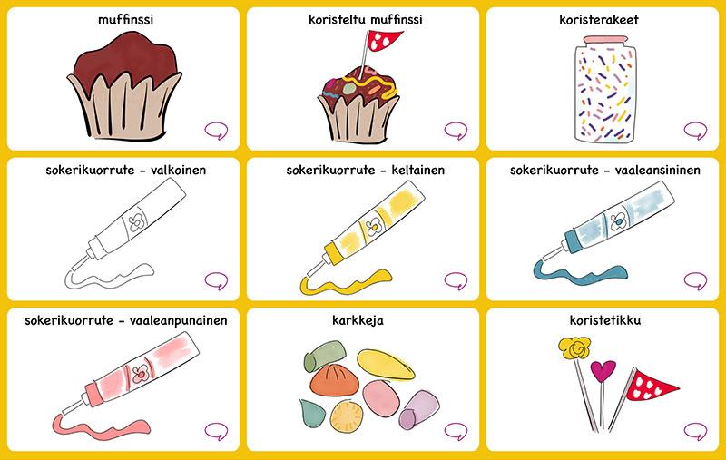 muffinssin koristelun vaiheet kuvilla