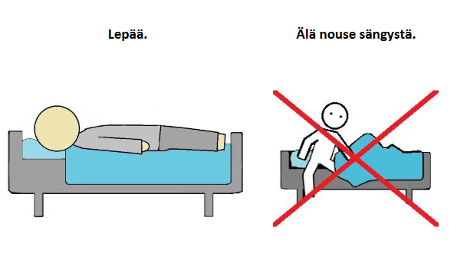Kuvia sairaalassa lepäämisestä.