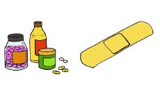 Piirroskuva lääkepurkeista ja laastarista.