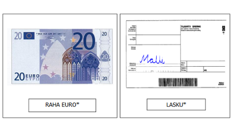 Kuva 20 euron setelistä ja laskusta.