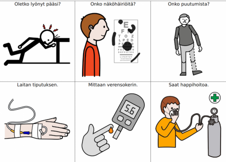 kuvat: iskeä pää, näköhäiriä, raajan puutuminen, tiputus, verensokerin mittaus, happihoito