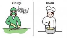 Piirroskuvissa kirurgi ja kokki
