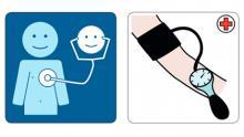 Piirroskuvat, joissa kuunnellaan stetoskoopilla ja mitataan verenpainetta