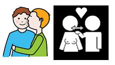 Kaksi piirrosta, joissa pariskunta suukottaa ja koskettaa toisiaan hellästi.