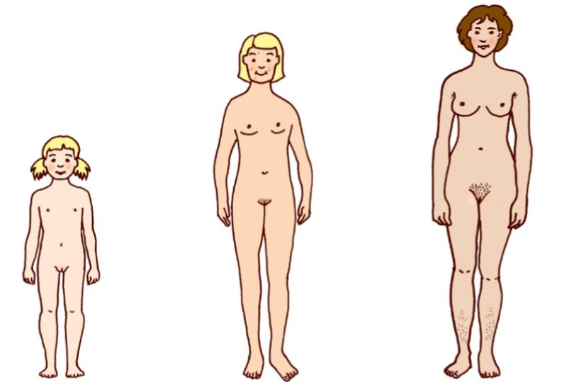 Kolme eri-ikäistä tyttöä ja naista ilman vaatteita.