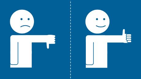 Piirroskuvassa kaksi ihmishahmoa: toisella peukalo ylhäällä, toisella alhaalla.