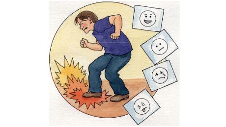 Piirroskuvassa hermostunut mieshahmo, joka polkee jalkaa lattiaan.