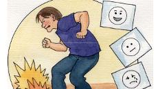 Piirroskuvassa hermostunut mies