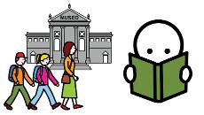 Piirroskuva museokäynnistä ja kirjan lukemisesta